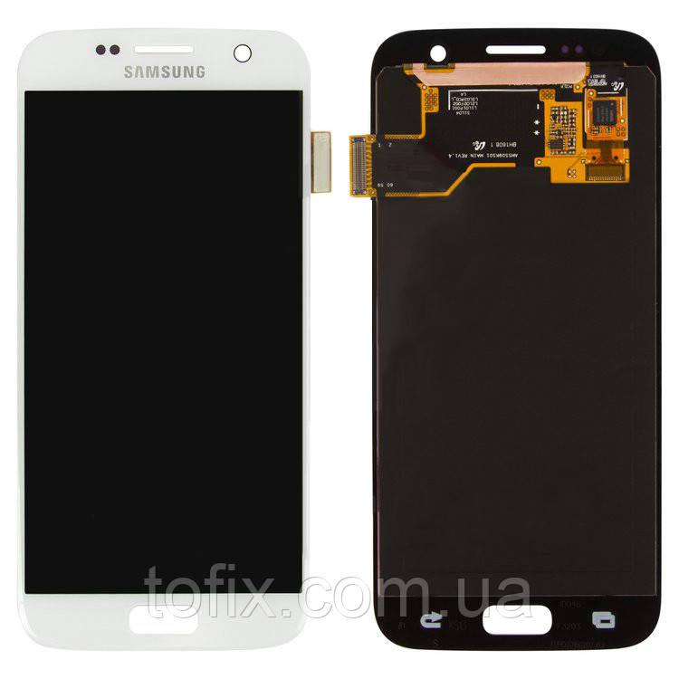 Дисплейный модуль (экран и сенсор) для Samsung Galaxy S7 G930, белый, оригинал #GH97-18523D