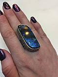 Кольцо лабрадор в серебре 19 размер. Кольцо с лабрадором. Индия, фото 2