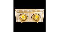 Латунный потолочный встраиваемый светильник с 2-мя лампами SIENA SQUARE, светлое золото - белая патина
