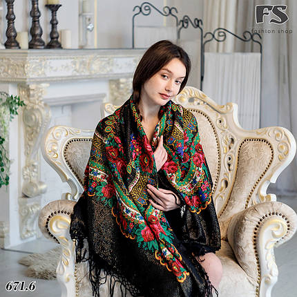 Настоящий чёрный платок шерстяной Украинский с люрексом, фото 2