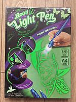 Доска для рисования рисуй светом А4 набор для творчества,Made in Ukraine. Neon light pen., фото 2