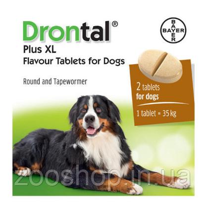 Таблетки Bayer Drontal Plus XL для лечения и профилактики гельминтозов у собак со вкусом мяса уп 2 таблетки