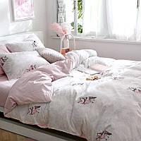 Розовый хлопковый комплект постельного белья Совы (двуспальный-евро)