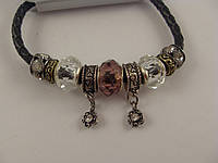 Стильный браслет Pandora (пандора) на кожаной основе 012782