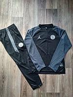 Детский тренировочный костюм ПСЖ сезон 2018-2019 (черный с темно серыми рукавами)
