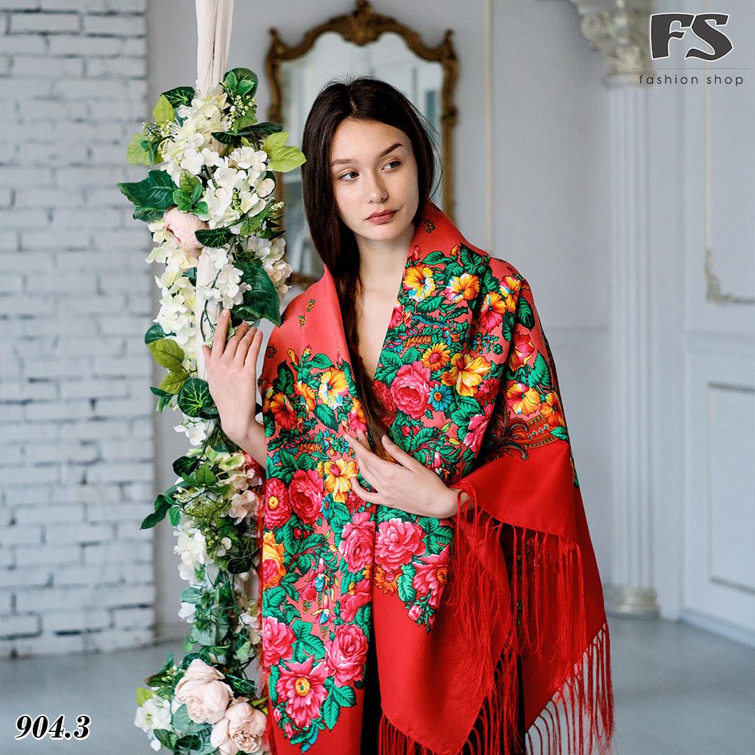 Павлопосадский красный платок Джиорджина
