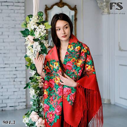 Павлопосадский красный платок Джиорджина, фото 2