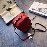 Сумка, клатч Гучи Marmont колір червоний, натуральна шкіра, фото 2