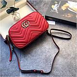 Сумка, клатч Гучи Marmont колір червоний, натуральна шкіра, фото 3
