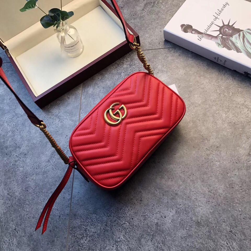 Сумка, клатч Гучи Marmont колір червоний, натуральна шкіра