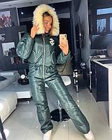 Зеленый лыжный женский комбинезон, фото 1