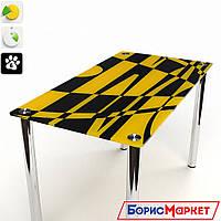 Обеденный стол стеклянный с прямоугольной столешницей Абстракция от БЦ-Стол