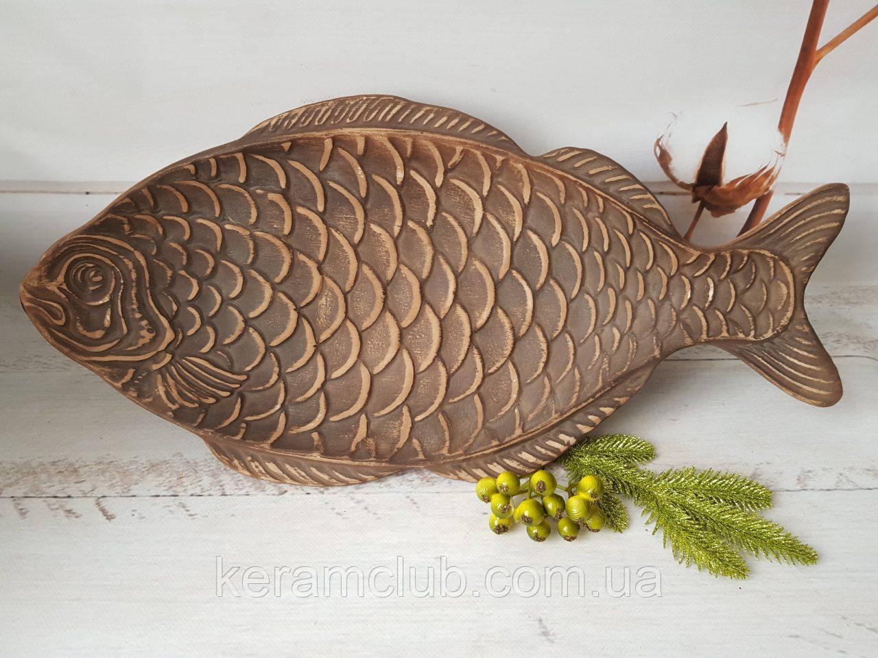 Селедочница-рыбка из красной глины 50 см