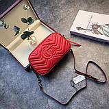 Сумка, клатч Гучи Marmont колір червоний, натуральна шкіра, фото 6