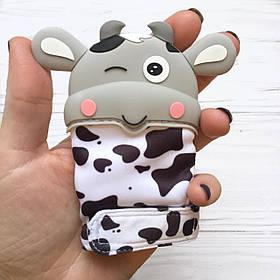 Перчатка Корова ( светло серый) прорезыватель для зубов