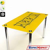 Обеденный стол стеклянный с прямоугольной столешницей Бамбук от БЦ-Стол