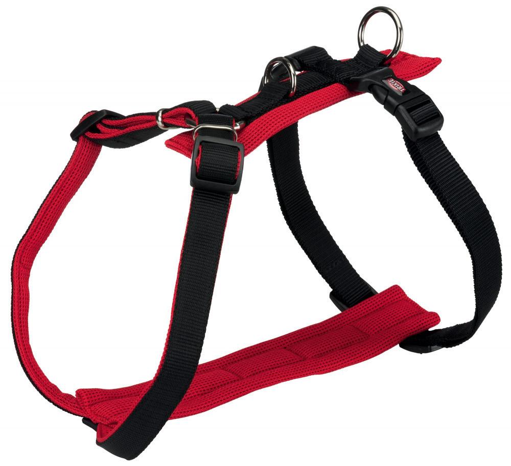 Шлея Trixie Comfort Soft Y-Harness M–L: 52-75 см / 25 мм  черный / красный.