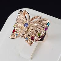 """Блестящее кольцо """"Бабочка"""" с кристаллами Swarovski, покрытие золото 0542 18 Разные цвета"""