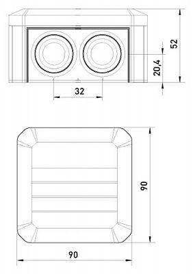 Коробка распределительная Т40 с кабельными вводами, 90х90х52, ІР55, ультрафиолетостойкая, ударостойкий пластик, фото 2