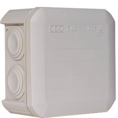 Коробка распределительная Т40 с кабельными вводами, 90х90х52, ІР55, ультрафиолетостойкая, ударостойкий пластик