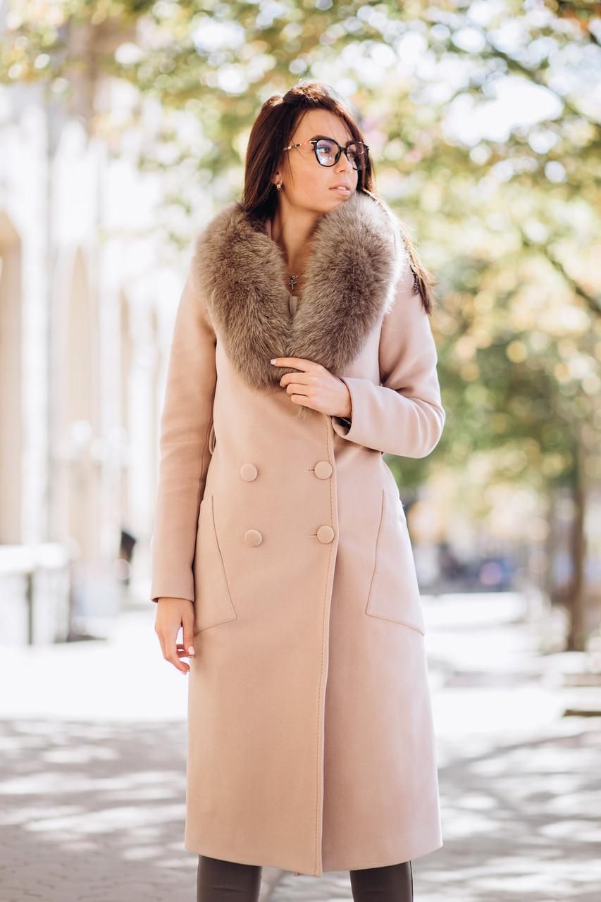 Зимнее шерстяное пальто с воротником из песца