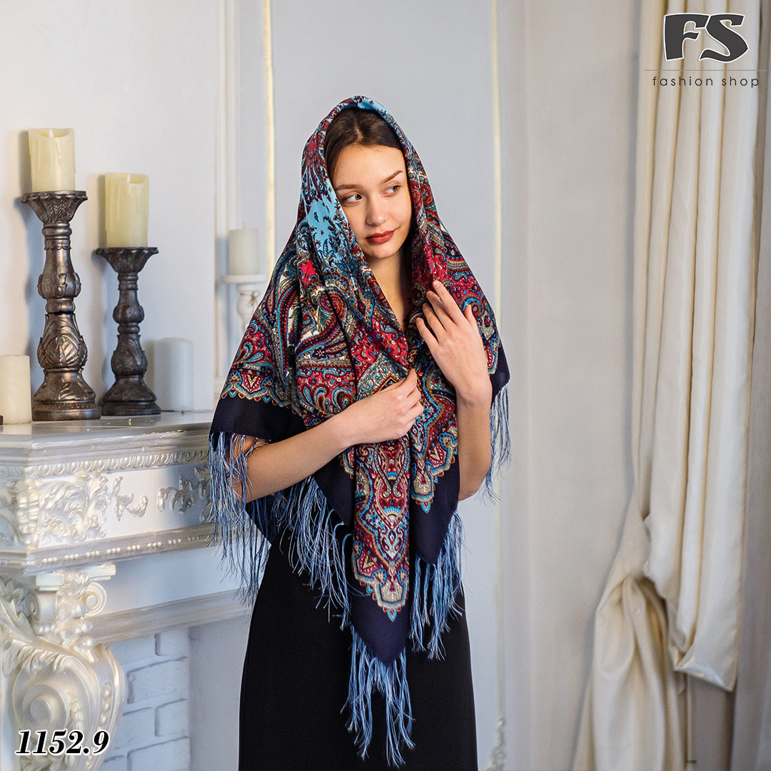 Тёмно-синий павлопосадский шерстяной платок Восточная сказка