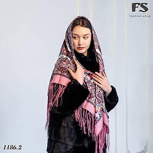Розовый павлопосадский шерстяной платок Осеннее танго