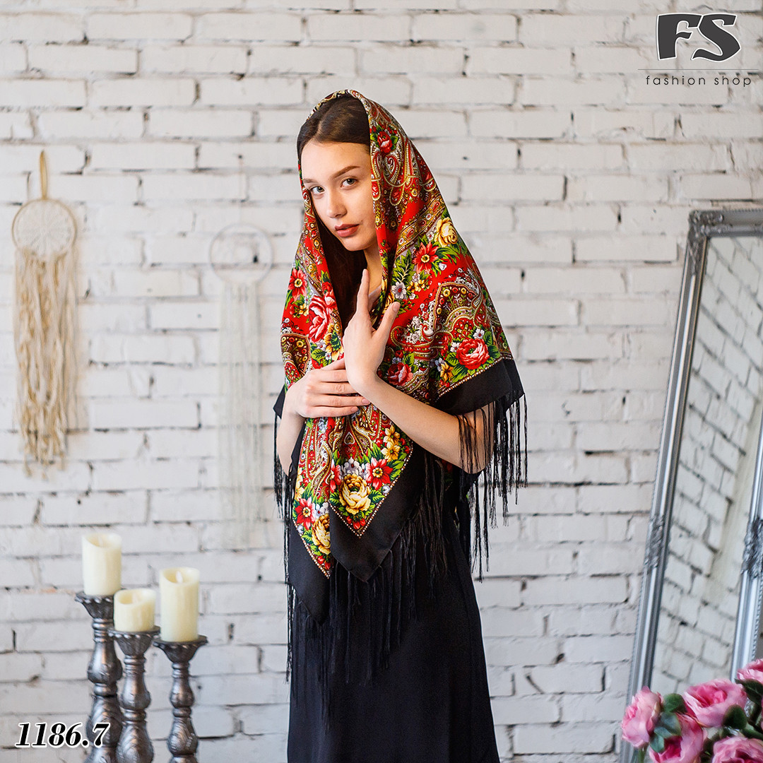 Чёрный павлопосадский шерстяной платок Осеннее танго