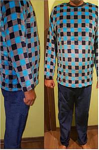 Теплая мужская пижама из велсофта принт квадратики 42-56 р, мужские теплые пижамы оптом от производителя