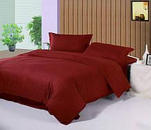 🎈Двуспальное постельное белье Сатин Stripe PREMIUM, BORDO / Простынь на резинке / Постільна білизна сатин / 8A12C2 - 459