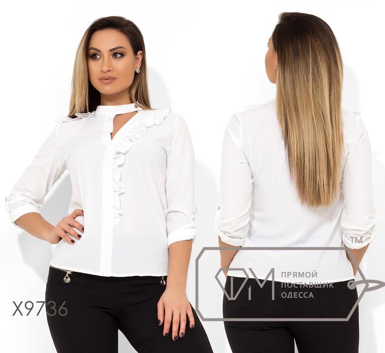 Блуза прямого кроя с пуговкой на воротнике большого размера Размер: 48-54