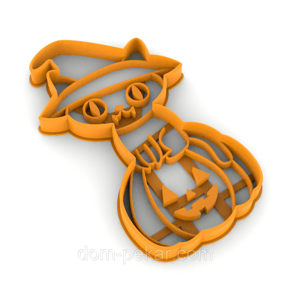 Вырубка для пряников Котик на тыкве 12*7см (3D)
