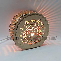 Соляной светильник деревянный Круглый Сова