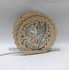 Соляной светильник деревянный Круглый Ангел