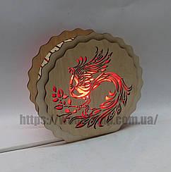 Соляной светильник деревянный Круглый Жарптица