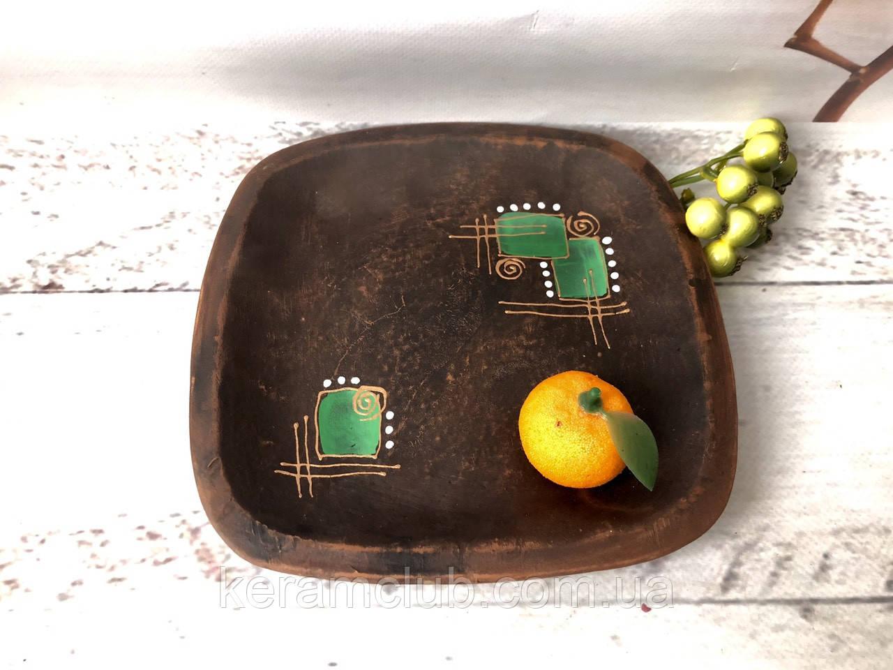 Квадратная тарелка ручной работы 18 см