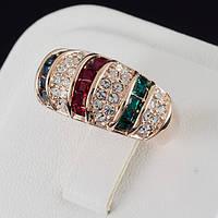 Восхитительное кольцо с кристаллами Swarovski, покрытие золото 0544