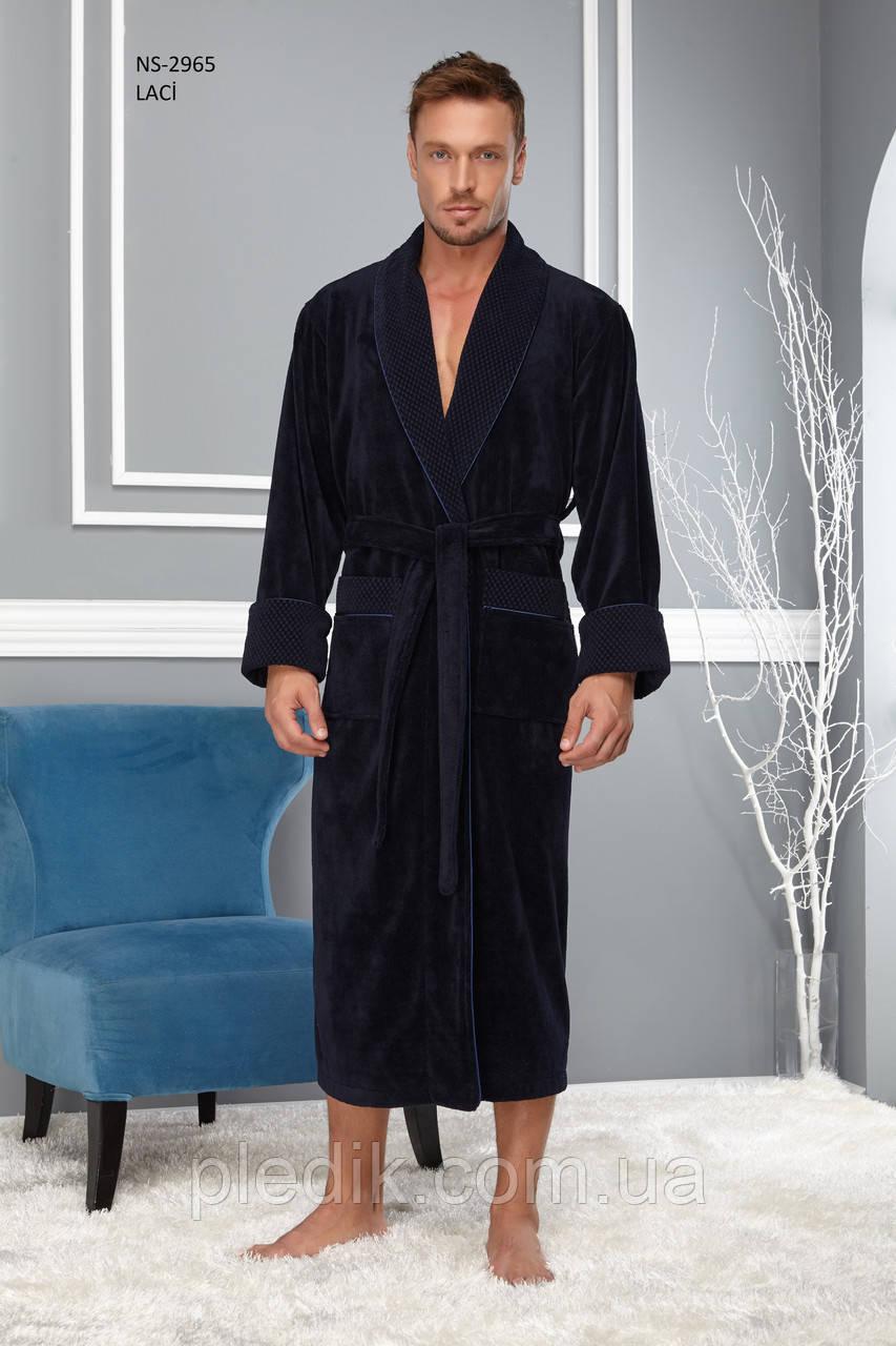 Мужской махровый халат Nusa 2965 синий  ХXL