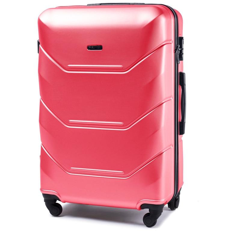 """Чемодан средний пластиковый на колесах WINGS 147  75 л. 24"""" цвет розовый"""