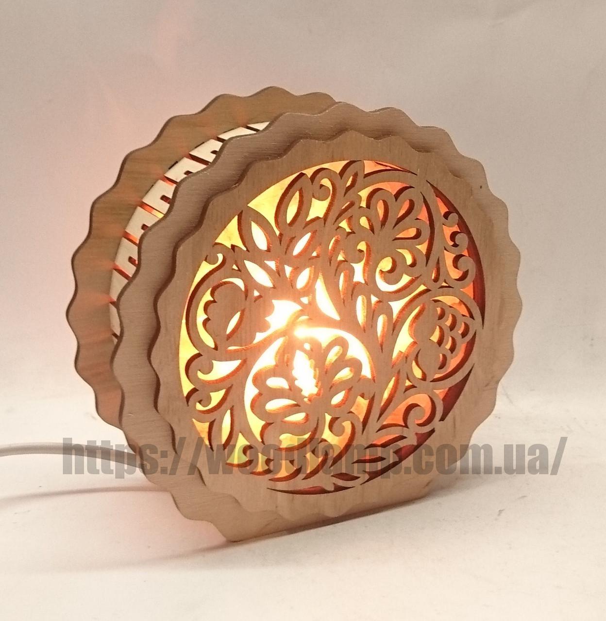 Соляной светильник деревянный Круглый Узор