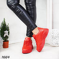 Стильные красные кроссовки женские р.  41, фото 1