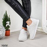 Стильные белые кроссовки женские р. 39, фото 1