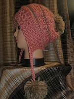 Шапка-капюшон с помпонами розовая с коричневым, фото 1
