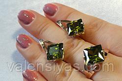 Набор серебряных украшений с красивым камнем и золотом, фото 3