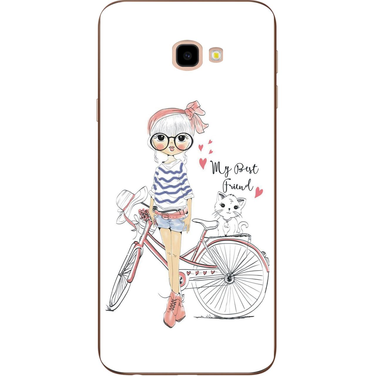 Бампер силиконовый чехол для Samsung Galaxy J4 Plus 2018 с картинкой Девушка с велосипедом