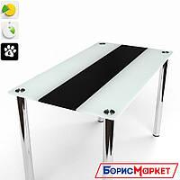 Обеденный стол стеклянный с прямоугольной столешницей Вектор черно-белый от БЦ-Стол