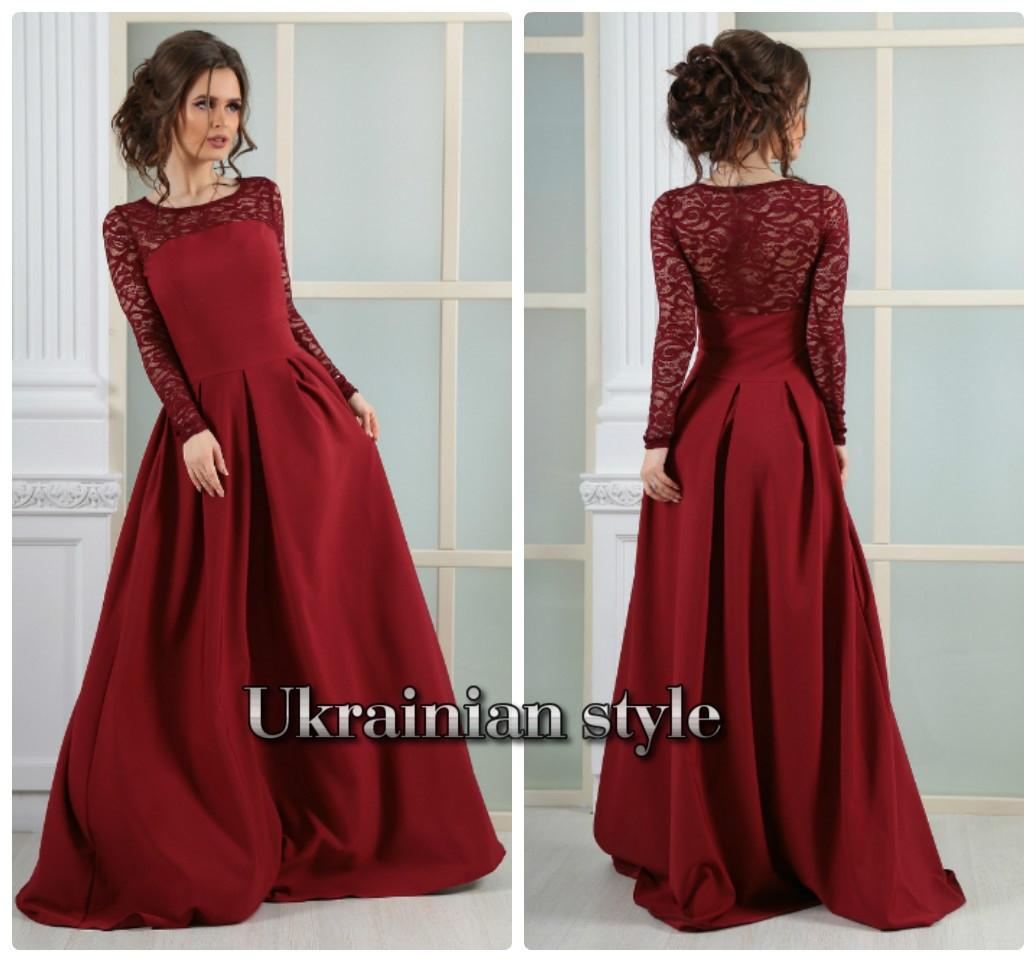 0f1f30c27f0 Бордовое вечернее платье в пол с гипюром  продажа