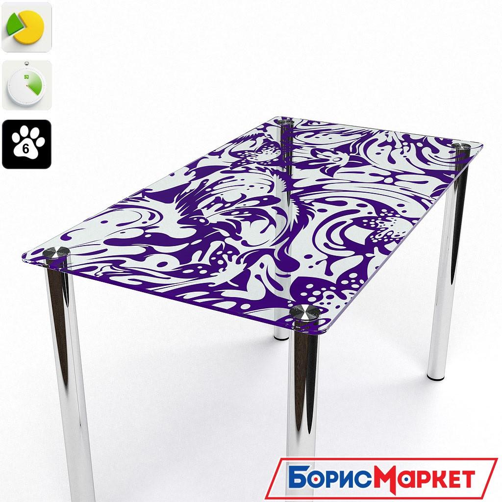 Обеденный стол стеклянный с прямоугольной столешницей Весна от БЦ-Стол 910х610 *Эко