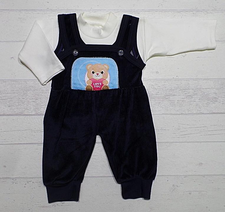 """Детский костюмчик  для малышей """" Мишутка """" 6 мес. велюровый комбинезон + кофта"""