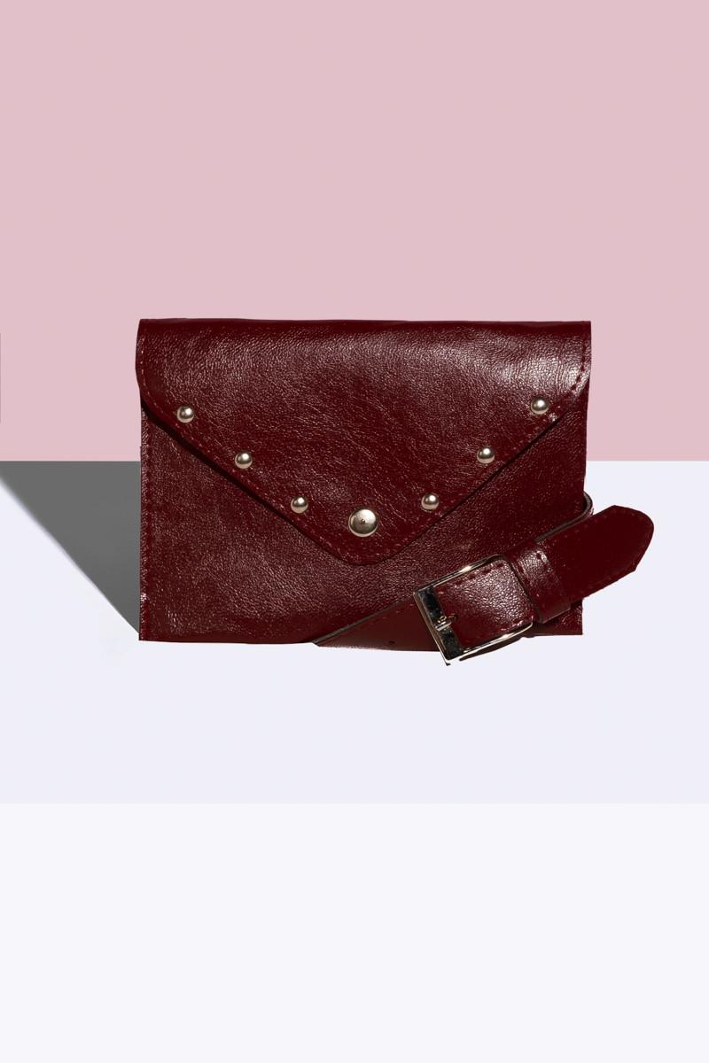 Женская сумка на пояс Бордовая
